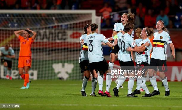 The team of Belgium celebrate the equalizing goal during the Group A match between Belgium and Netherlands during the UEFA Women's Euro 2017 at...