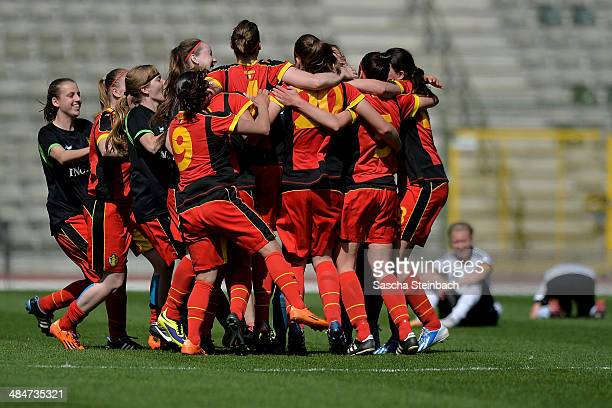 The team of Belgium celebrates after winning the UEFA Under19 Women's Elite Round match between Belgium and Germany at King Baudouin Stadium on April...