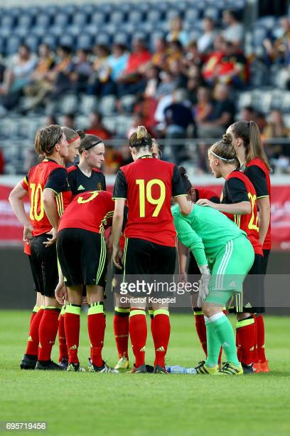The team of Belgium comes together prior to the Women's International Friendly match between Belgium and Japan at Stadium Den Dreef on June 13 2017...