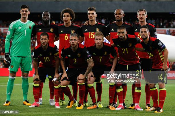 The team of Belgium line up during the FIFA 2018 World Cup Qualifier between Belgium and Gibraltar at Stade Maurice Dufrasne on August 31 2017 in...