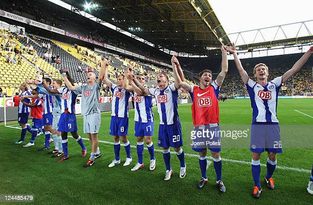 The team of Berlin celebrates after winning the Bundesliga match between Borussia Dortmund and Hertha BSC Berlin at Signal Iduna Park on September...