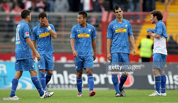 The team of Bochum looks dejected after the Second Bundesliga match between RW Oberhausen and VfL Bochum at the Niederrhein Stadium on September 18...