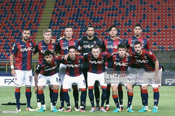 The team of Bologna stands during the Tim Cup match between Bologna FC andTrapani Calcio at Stadio Renato Dall'Ara on August 12 2016 in Bologna Italy