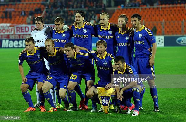 The team of Borisov lines up before the UEFA Champions League group F match between FC Bayern Muenchen and FC BATE Borisov at Dinamo Stadium on...