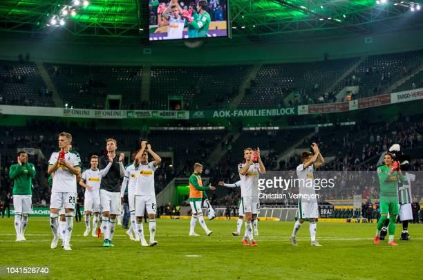 The Team of Borussia celebrate after the Bundesliga match between Borussia Moenchengladbach and Eintracht Frankfurt at Borussia-Park on September 26,...