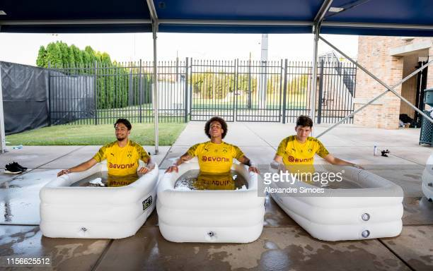 The team of Borussia Dortmund after a training session at the Indiana University South Bend as part of Borussia Dortmund's US Tour 2019 on July 18,...