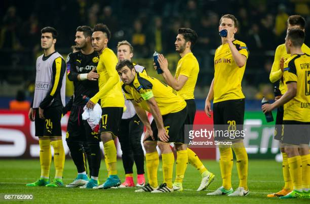The team of Borussia Dortmund after the final whistle during the UEFA Champions League Quarter Final First Leg match between Borussia Dortmund and AS...