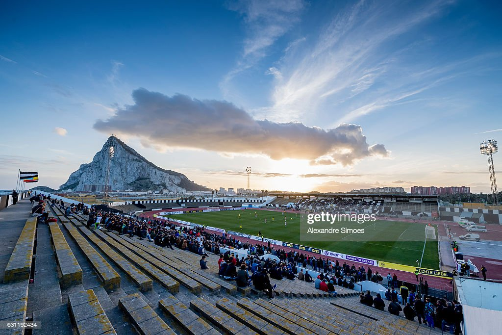 The team of Borussia Dortmund and PSV Eindhoven infront of the Rock of Gibraltar - Upper Rock - prior the friendly match Borussia Dortmund v PSV Eindhoven - Friendly Match at Estadio Municipal La Linea de la Concepcion on January 7, 2017 in Cadiz, Spain.