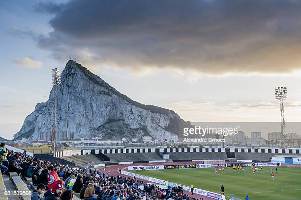 The team of Borussia Dortmund and PSV Eindhoven infront of the Rock of Gibraltar Upper Rock prior the friendly match Borussia Dortmund v PSV...