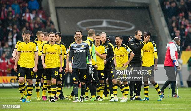 The team of Borussia Dortmund celebrates after winning the Bundesliga match between VfB Stuttgart v Borussia Dortmund at MercedesBenz Arena on April...