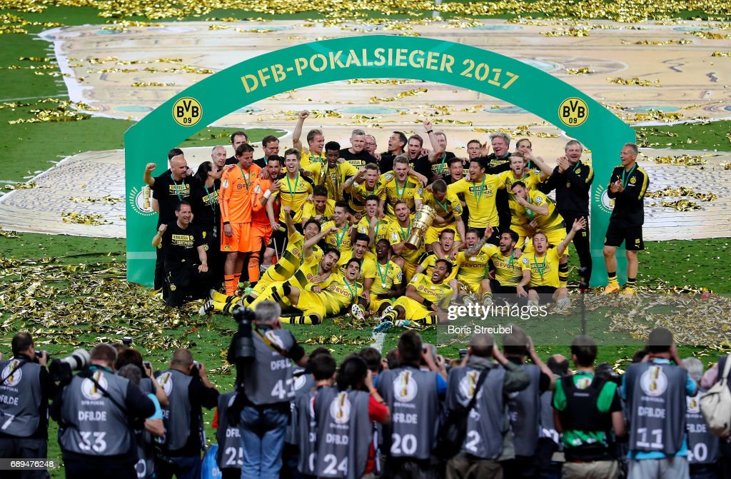 The team of Borussia Dortmund celebrates winning the DFB Cup Final 2017 between Eintracht Frankfurt and Borussia Dortmund at Olympiastadion on May 27, 2017 in Berlin, Germany.