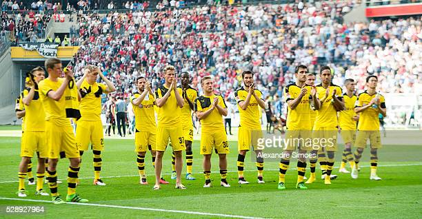 the team of Borussia Dortmund disappointed after final whistle in the Bundesliga match between��Eintracht Frankfurt v��Borussia Dortmund at...