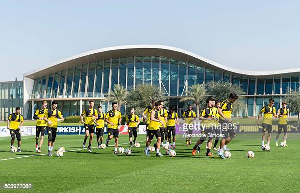 The team of Borussia Dortmund during a training session of the Borussia Dortmund training camp at Dubai Nad Al Sheba Sports Complex on January 8 2016...