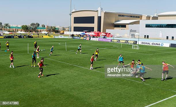 The team of Borussia Dortmund during a training session of the Borussia Dortmund training camp at Dubai Nad Al Sheba Sports Complexon January 9 2016...