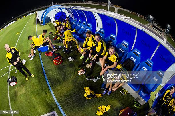 The team of Borussia Dortmund during a training session of the Borussia Dortmund training camp at Dubai Nad Al Sheba Sports Complex on January 9 2016...