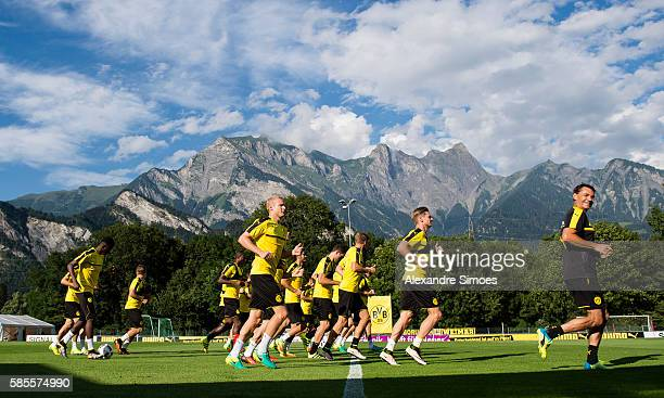 The team of Borussia Dortmund during a training session on the training ground of Bad Ragaz during Borussia DortmundÕs summer training camp 2016 on...