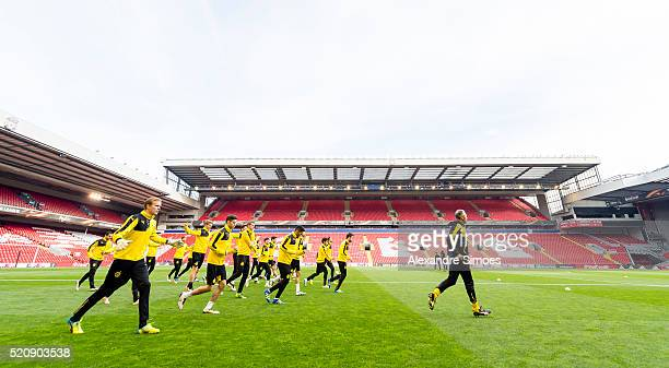 The team of Borussia Dortmund during a training session prior to the Europa League match between Liverpool FC and Borussia Dortmund at Anfield on...