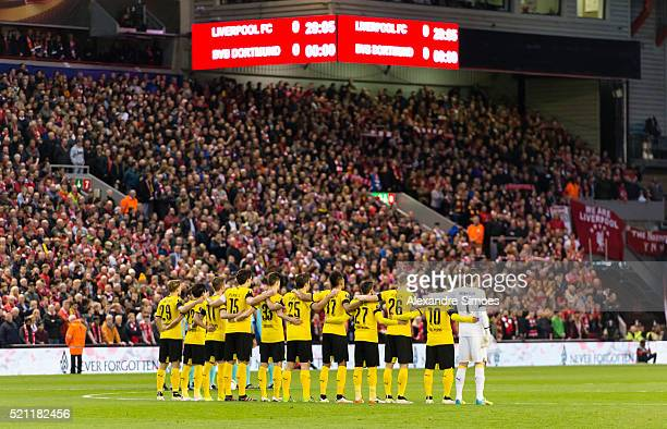 The team of Borussia Dortmund during the silent minute prior to the UEFA Europa League Quarter Final Second Leg match between Liverpool FC and...