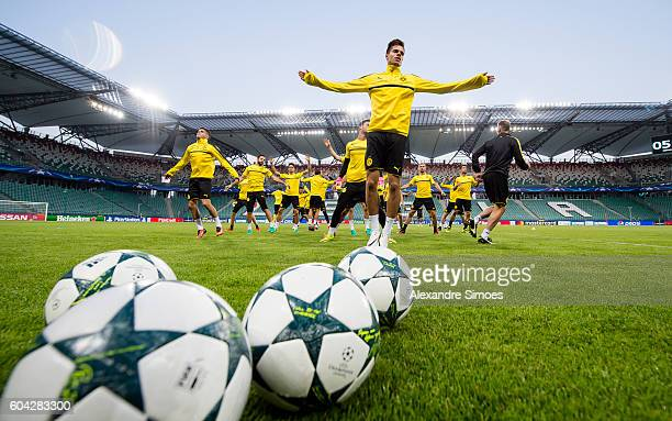 The team of Borussia Dortmund during the training session before the UEFA Champions League First Qualifying Round 1st Leg match between Borussia...