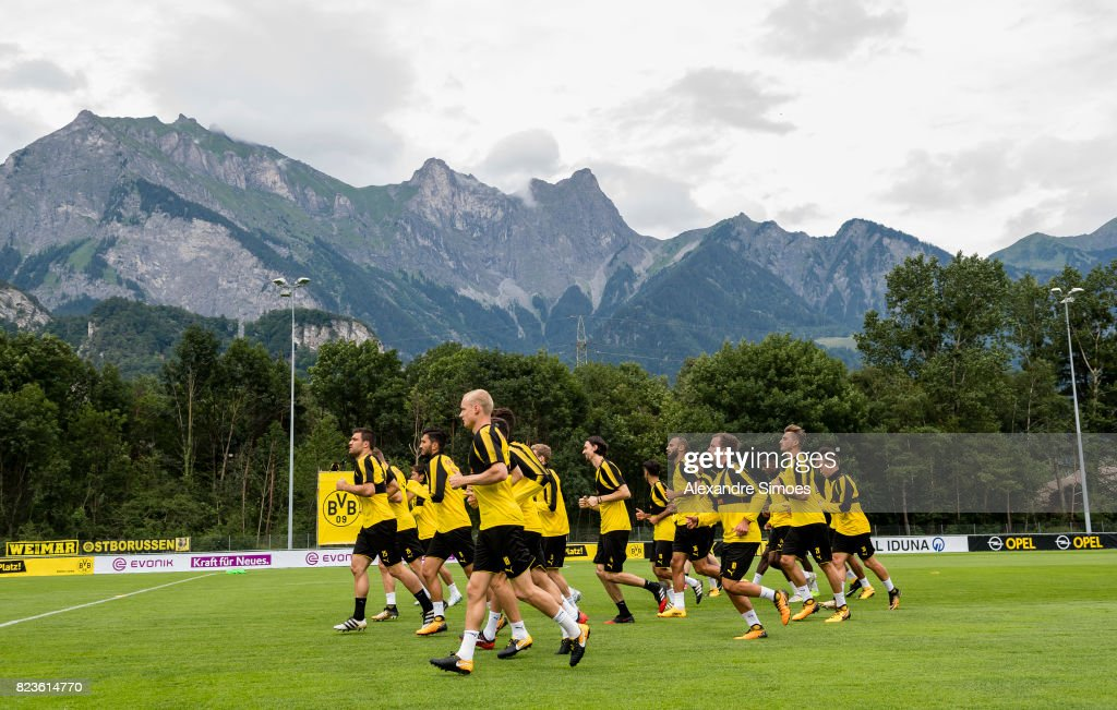 The team of Borussia Dortmund in action during a training session as part of the training camp on July 27, 2017 in Bad Ragaz, Switzerland.