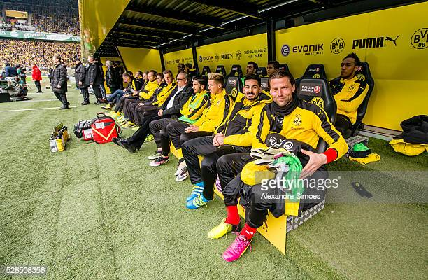 The team of Borussia Dortmund prior to the Bundesliga match between Borussia Dortmund and VfL Wolfsburg at Signal Iduna Park on April 30 2016 in...