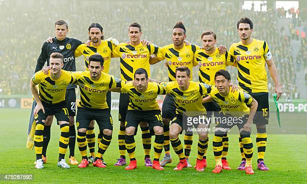 The team of Borussia Dortmund prior to the DFB Cup Final match between Borussia Dortmund and VfL Wolfsburg at Olympiastadion on May 30 2015 in Berlin...