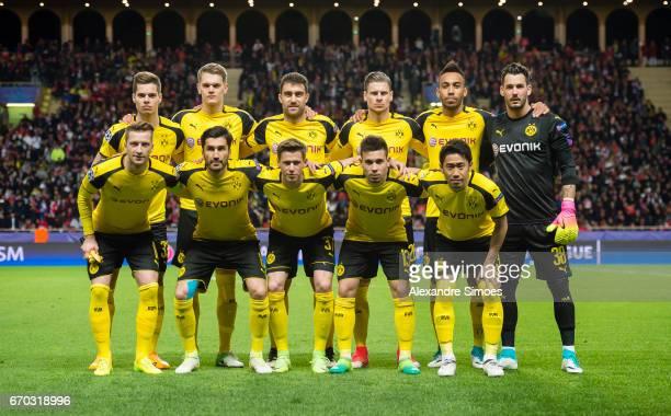 The team of Borussia Dortmund prior to the UEFA Champions League Quarter Final Second Leg match between AS Monaco and Borussia Dortmund at Stade...