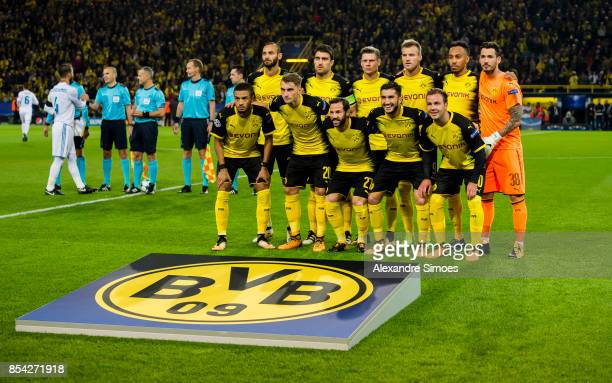 The team of Borussia Dortmund prior to the UEFA Champions League First Qualifying Round 1st Leg match between Borussia Dortmund and Real Madrid at...
