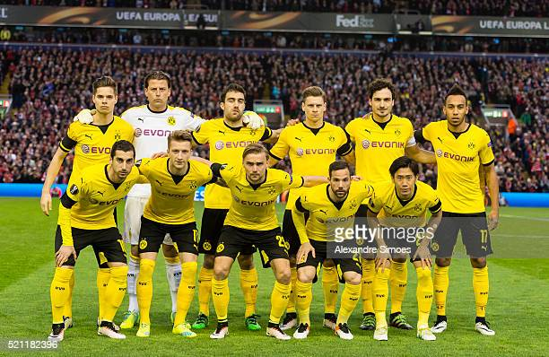 The team of Borussia Dortmund prior to the UEFA Europa League Quarter Final Second Leg match between Liverpool FC and Borussia Dortmund at Anfield on...