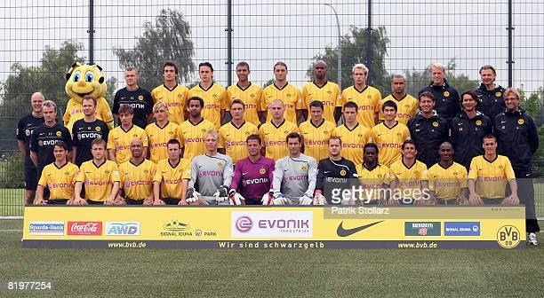 The team of Borussia Dortmund staff member Michael Peter Peter Kuhnt Mats Hummels Neven Subotic Daniel Gordon Diego Klimowicz Felipe Santana Florian...