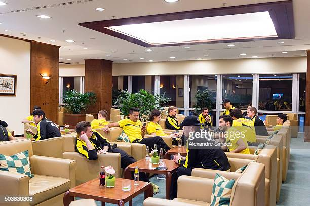 The team of Borussia Dortmund waits for the departure at the International Airport before heading to their training camp in Dubai on January 07 2016...
