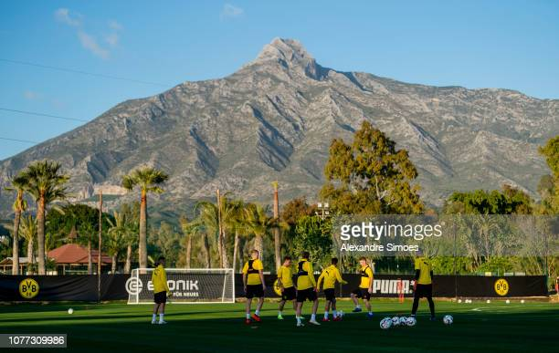 The team of Borussia Dortmund warms up during a training session as part of the training camp on January 04 2019 in Marbella Spain