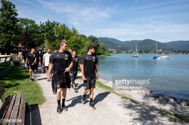 The Team of Borussia go for walk during the Borussia Moenchengladbach Training Camp on July 20 2019 in RottachEgern Germany