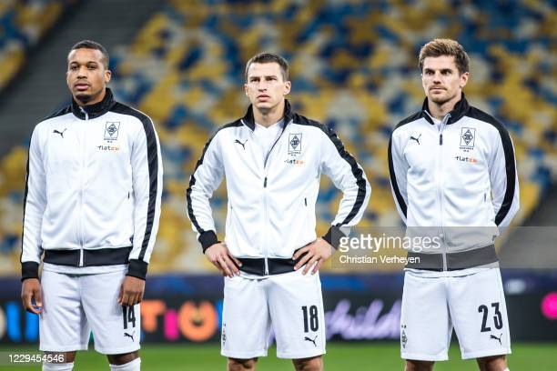 The Team of Borussia is seen ahead the Group B UEFA Champions League match between Shakhtar Donetsk and Borussia Moenchengladbach at Olimpiysky on...