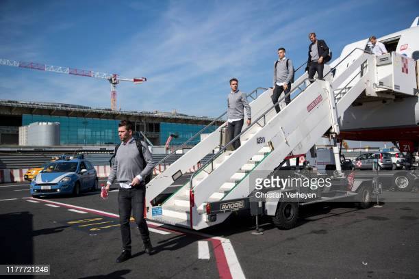 The Team of Borussia is seen as Borussia Moenchengladbach arrive at Rome Airport on October 23 2019 in Rome Italy