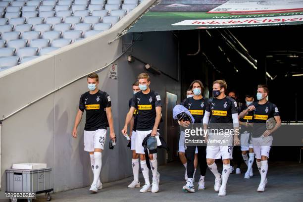 The team of Borussia Moenchengladbach arrive at the stadium ahead the Bundesliga match between FC Bayern Muenchen and Borussia Moenchengladbach at...