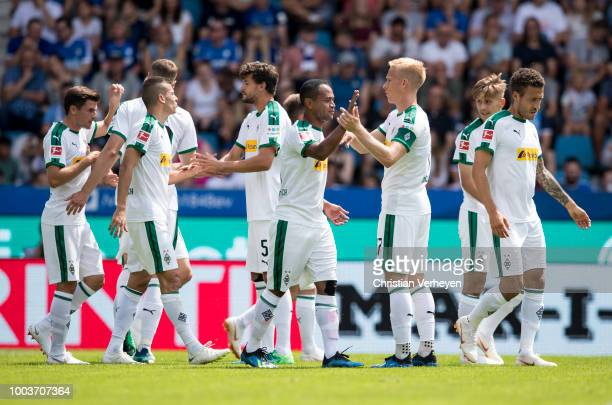 The Team of Borussia Moenchengladbach celebrate after the HHotels Pre Season Tournament between Borussia Moenchengladbach and Real Betis Balompie on...