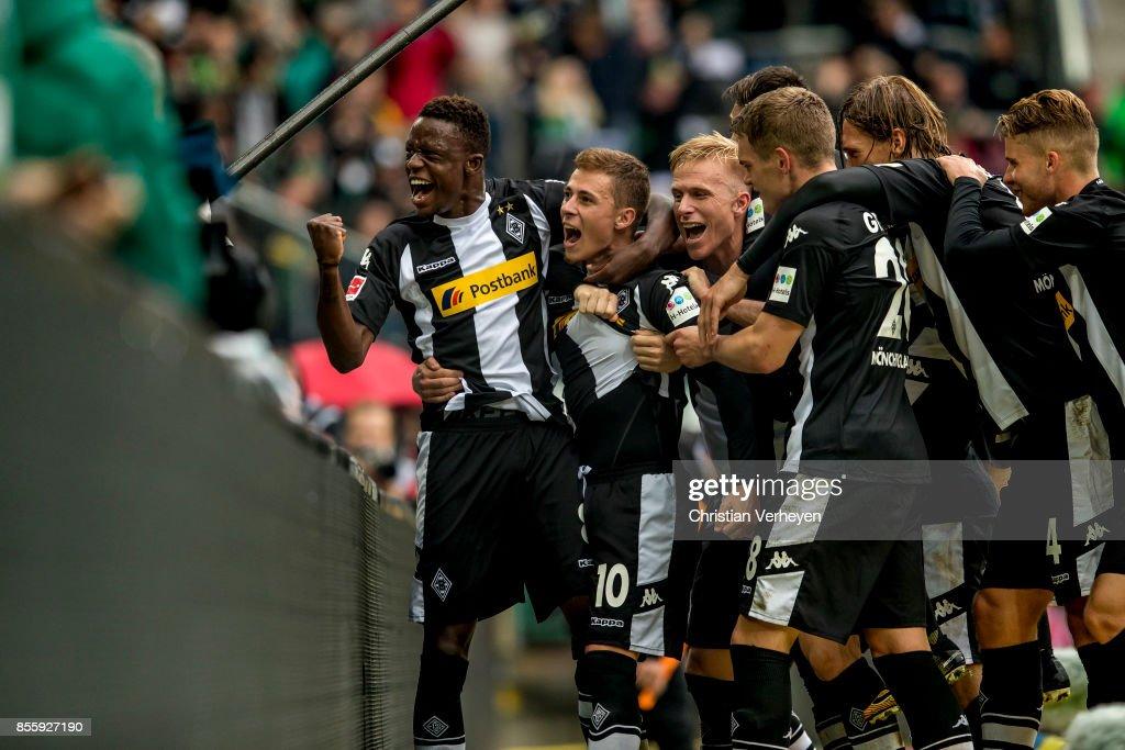 The Team of Borussia Moenchengladbach celebrate the second goal during the Bundesliga match between Borussia Moenchengladbach and Hannover 96 at Borussia-Park on September 30, 2017 in Moenchengladbach, Germany.