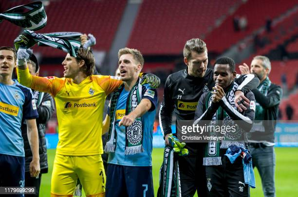 The Team of Borussia Moenchengladbach celebrate their win after the Bundesliga match between Bayer 04 Leverkusen and Borussia Moenchengladbach at...