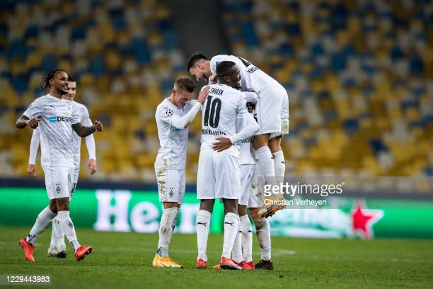 The Team of Borussia Moenchengladbach celebrates after Alassane Plea scored his teams sixth goal during the Group B - UEFA Champions League match...