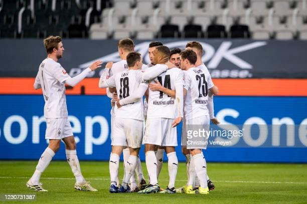 The Team of Borussia Moenchengladbach celebrates after Nico Elvedi scored his teams second goal during the Bundesliga match between Borussia...