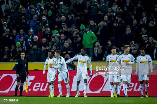 The Team of Borussia Moenchengladbach celebrates the first goal during the Bundesliga match between Borussia Moenchengladbach and 1FC Nuernberg at...