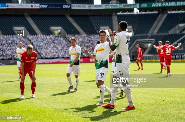 The Team of Borussia Moenchengladbach celebrates the third goal during the Bundesliga match between Borussia Moenchengladbach and 1. FC Union Berlin...