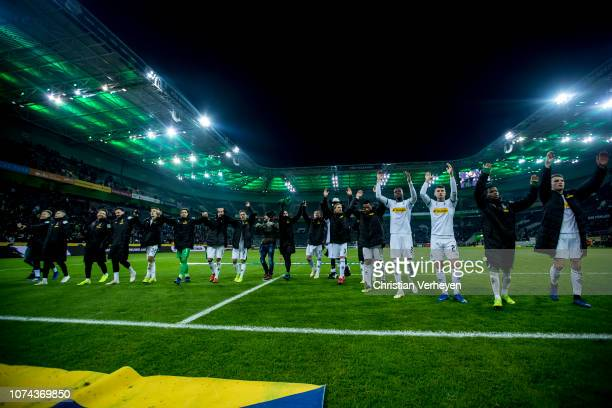 The Team of Borussia Moenchengladbach celebrates the victory after the Bundesliga match between Borussia Moenchengladbach and 1FC Nuernberg at...