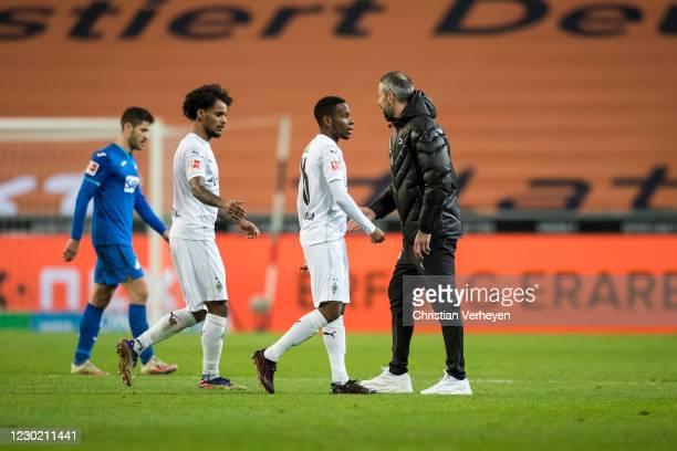The Team of Borussia Moenchengladbach is seen after the Bundesliga match between Borussia Moenchengladbach and TSG Hoffenheim at Borussia-Park on...