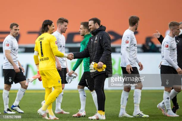 The Team of Borussia Moenchengladbach is seen after the Bundesliga match between Borussia Moenchengladbach and DSC Arminia Bielefeld at Borussia-Park...
