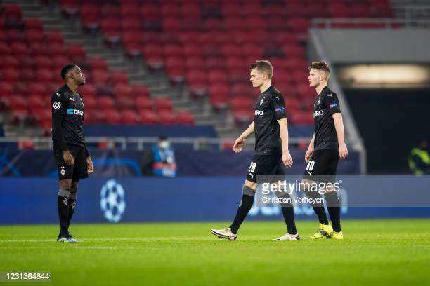 The Team of Borussia Moenchengladbach is seen after the UEFA Champions League Round Of 16 Leg One match between Borussia Moenchengladbach and...
