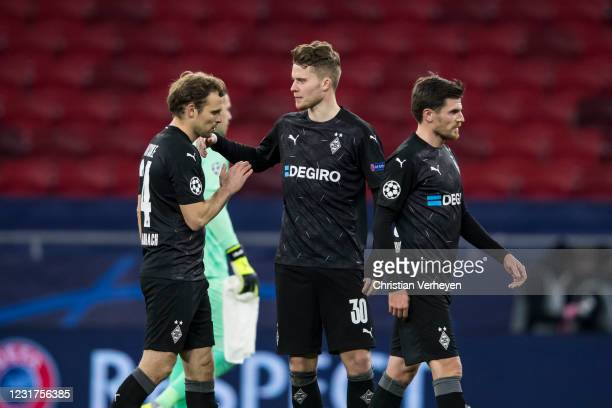 March 16: The Team of Borussia Moenchengladbach is seen after the UEFA Champions League Round Of 16 Leg Two match between Manchester City and...