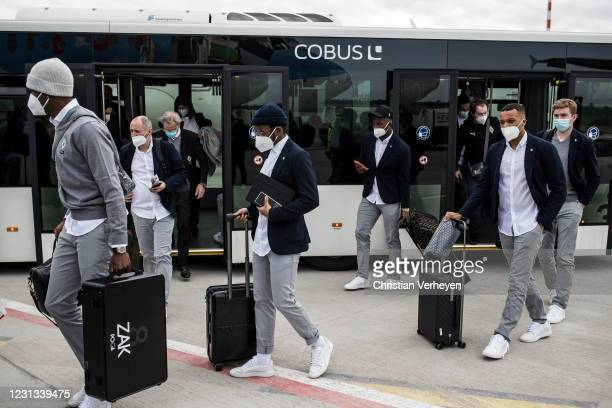 The Team of Borussia Moenchengladbach is seen as the team travel to Budapest for their upcoming UEFA Champions League match, at Airport Duesseldorf...