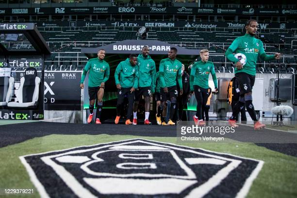 The Team of Borussia Moenchengladbach is seen before the Bundesliga match between Borussia Moenchengladbach and RB Leipzig at Borussia-Park on...